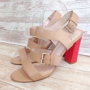 Kate Spade Ibarra nude  sandals with red heel